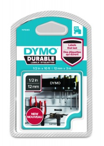Dymo D1 DURABLE 1978365 White on Black - 12mm
