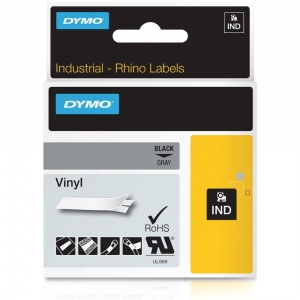 Dymo Rhino 1805413 Black on Grey Vinyl Tape - 12mm