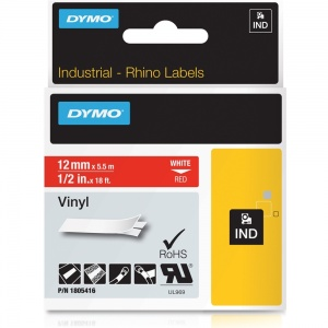 Dymo Rhino 1805416 White on Red Vinyl Tape - 12mm