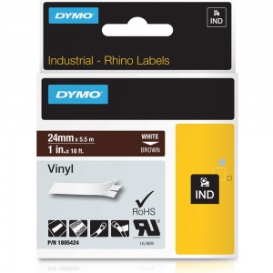 Dymo Rhino 1805424 White on Brown Vinyl Tape - 24mm