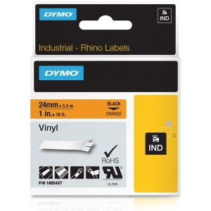 Dymo Rhino 1805427 Black on Orange Vinyl Tape - 24mm