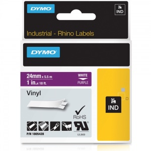 Dymo Rhino 1805428 White on Purple Vinyl Tape - 24mm
