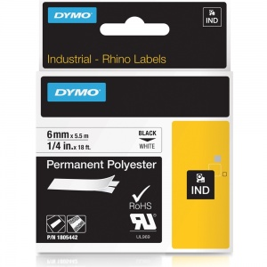 Dymo Rhino 1805442 Black on White Tape Polyester Tape - 6mm