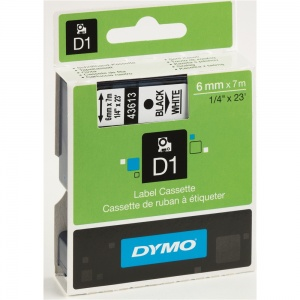 Dymo 43613 Black On White - 6mm