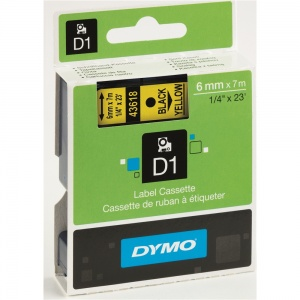 Dymo 43618 Black On Yellow - 6mm