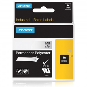 Dymo Rhino 622289 Black on Clear Polyester Tape - 12mm