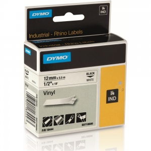 Dymo Rhino 18444 Black on White Vinyl Tape - 12mm