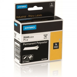 Dymo Rhino S0773830 / 1734523 Black on White Polyester Tape - 24mm