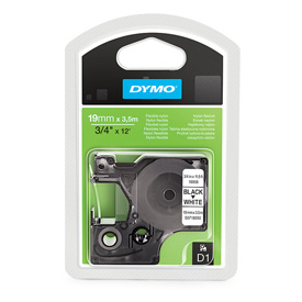 Dymo 16958 Black On White Permanent Nylon Tape - 19mm