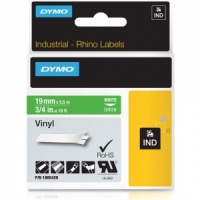 Dymo Rhino 1805420 White on Green Vinyl Tape - 19mm