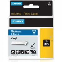Dymo Rhino 1805423 White on Blue Vinyl Tape - 24mm - DISCONTINUED