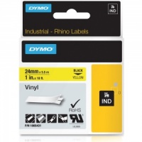 Dymo Rhino 1805431 Black on Yellow Vinyl Tape - 24mm