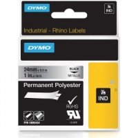 Dymo Rhino 1805434 Black on Metallic Polyester Tape - 24mm