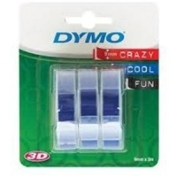 Dymo S0847740 White On Blue Embossing Tape (x3) - 9mm